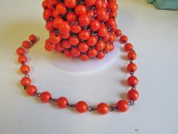 Bead Chain - Orange - gun metal (1 Ft) 8mm