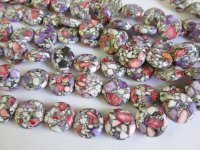 Pink purple mosaic coin beads #1621