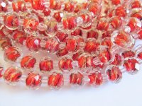 Red and Black faceted glass beads #TU-1394-14