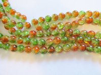 Orange and green Crackle glass rounds #HU-1413