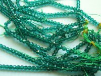 Teal round faceted crystal 6mm #1871