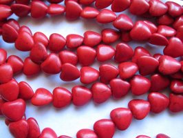 Red heart beads 15mm #1488
