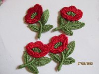 Applique Red Flowers (4pcs) #App725-1