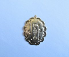 Raw Brass Concho Pendant/Earring Indian #SAL-BC