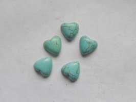 12mm Turquoise Heart cabs (5pcs) #CAB-27