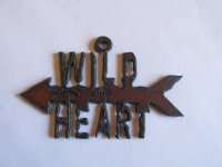 Wild Heart with arrow rustic metal pendant #SS023