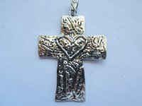 Cross with heart antique silver #MP94