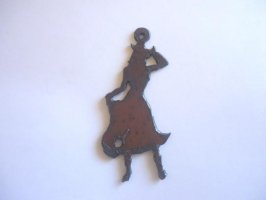 Cowgirl metal cutout pendant #RR013L