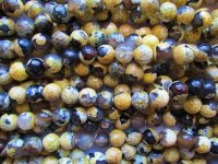 Yellow and black agate round beads 10mm #1023