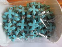 Bead Chain - Turquoise Rosette cross Silver wire (ROLL)