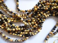 Yellow and black agate faceted rounds #TU1210-12