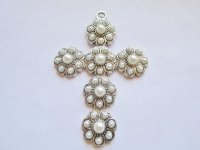 Antique Silver Cross w/ Pearls Pendant #HU14-46