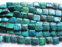 Turquoise, blue, green square beads #1872