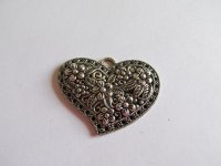 Heart antique silver pewter pendant #Bch-143