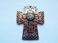 Antique copper cross with crystal #MP81
