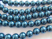 Teal round glass pearls #TU-1212-13
