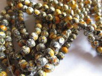 Yellow and black round mosaic beads #QB1174