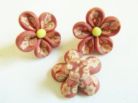 Rust Polymer clay flower (bag of 3) #FL31