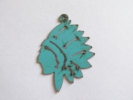 Indian Chief Turquoise Pendant #WKS-7