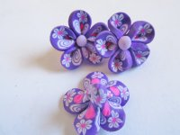Purple/White polymer clay flowers (3pcs) #FL34