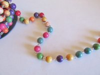 Bead chain - Multi Bright colored (Roll) silver wire 6mm