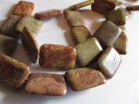 Rust and beige Jasper rectangle beads #1510