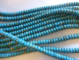 Turquoise/brown rondelle beads #QB1170
