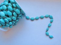 Bead chain - Turquoise Oval Bronze - (1 ROLL) #Oval