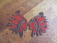Indian chief metal Red earring (set) #WKS-6B