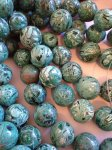 Teal Green Crazy Lace Agate rounds #T1359