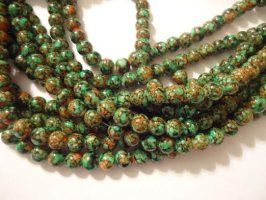 Green and orange glass pearls #h1295