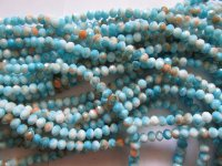 Turquoise peach white crystal 6x8mm beads #1403