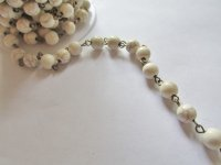 Bead Chain - White Howlite bronze wire 8mm (1 ft)
