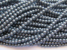 Silver gunmetal Glass pearls 6mm #1389