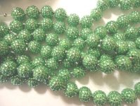 Lime green bubble beads w/crystals #TU1282