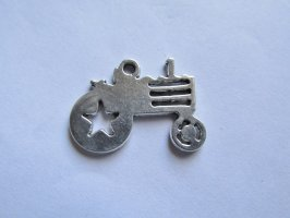 Antique Silver Tractor Charm # HU14-40