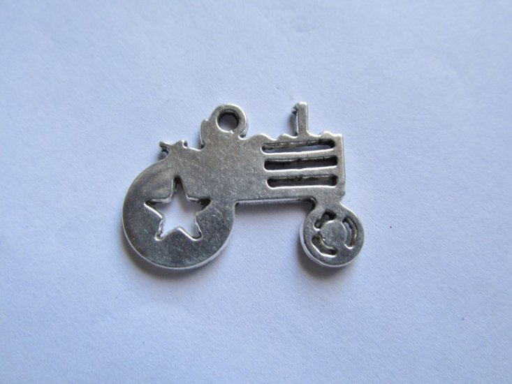 Antique Silver Tractor Charm # HU14-40 - Click Image to Close