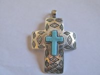 antique silver cross pendant #HU13-30
