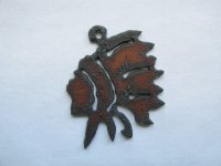 Indian Brave Rustic Metal Pendant #RR040