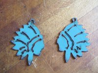 Indian chief metal Turquoise earring (set) #WKS-7B