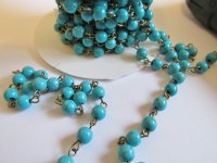 Bead chain - Turquoise - Bronze 6MM (1 foot) #PLchW/B-6