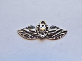 Wings with cross charm/earrings #BS-CH21