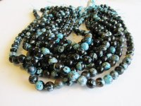 Turquoise and black agate 8mm #1568