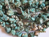 Turquoise rustic nugget beads #1066-T13
