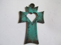 Cross with heart out #cc012-patina