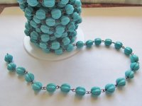 Bead Chain - Turquoise shaped - Copper (1 FT) 10mm