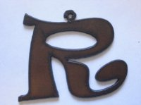 "Initial Letter Rowdy Metal ""R"" - Pendant #R-2"