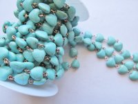 Bead chain - Turquoise Heart - copper wire 10mm (1 foot)