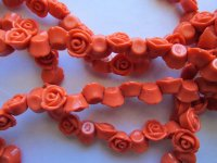 Orange flower beads 13mm #1781