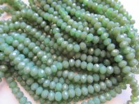 Green Olive opaque crystal beads 6x8mm #1810
